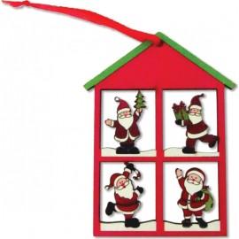 Ξύλινο κρεμαστό Χριστουγεννιάτικο στολίδι σπιτάκι ..