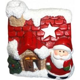 Κηροπήγιο Χριστουγεννιάτικο Πήλινο Σπιτάκι 8x9εκ