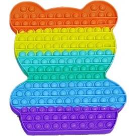 Pop it Bubble Fidget Toy Stress Reliever Rainbow Colours SUPER ΓΙΓΑΣ Αρκουδάκι