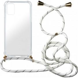 Back Cover Σιλικόνης με Λουράκι Άσπρο-Μαύρο (Galaxy A51)