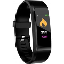 115 Plus Αδιάβροχο Smart Bracelet Sport Wristband Heart Rate Blood Pressure Monitor Fitness Tracker - Μαύρο