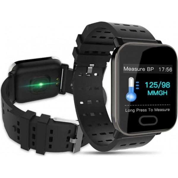 Αδιάβροχο Ρολόι A6 Smart Bracelet Heart Rate Monitor IP67 Waterproof Bluetooth 4.0- black
