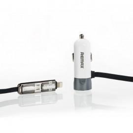 Remax fast8 rc-c102 φορτιστής αυτοκινήτου με καλώδιο lightning και micro usb 5v 3.4a λευκό