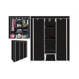 Τριπλή υφασμάτινη ντουλάπα με 3 πόρτες και μεταλλικό σκελετό OEM Μαύρο