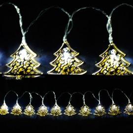 10 LED Μεταλικά Χρυσά Δέντρα με Μπαταρίες