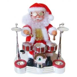 Άγιος Βασίλης που Παίζει Τύμπανα με Ήχο, Κίνηση και Φως - 20 εκ.