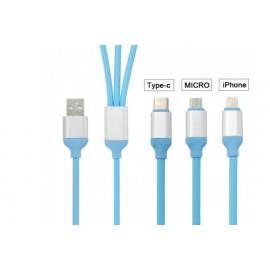 Cable Πολυλειτουργικό καλώδιο φόρτισης 3 σε 1 με ενσωματωμένο USB