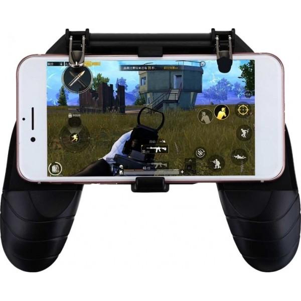 W18 PUBG Four-finger Operation Gamepad Phone Holder - Black 4382