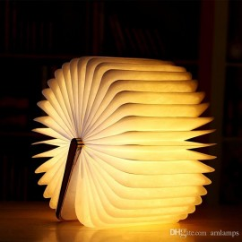Portable Folding LED Book Light Creative Wood Grain Book Lamp USB Charging Desk Lamps 360 ° Turning Book Decoration Night Light for a Gift
