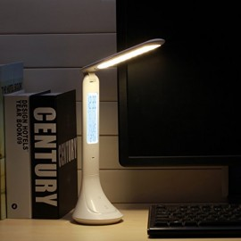 LED Desk Lamp, AVAWAY USB Rechargeable Table Lamp, Foldable Reading Lamp with LCD Display Calendar - Time/Temperature/Alarm Clock, 3 Levels Brightness