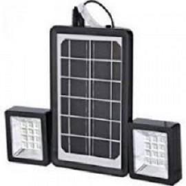 Mini Ηλιακό Σύστημα Φωτισμού με Solar Panel 3W & Powerbank USB & Προβολείς 12 LED 2x100LM